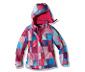 Kurtka narciarska, czerwono-biało-lila w kratkę