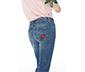 Kırmızı Nakış Detaylı Kot Pantolon