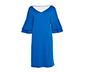 Mavi Çift Kat Volan Kollu Midi Elbise, M