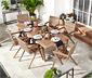 Ensemble de table et chaises en poly rotin et en acacia, 7 pièces