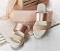 Pembe Metalik Bej Sandalet