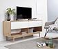 Eichenfurniertes TV-Lowboard mit matt weiss lackierten Schubladen