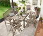 Kerti asztal, bővíthető, akác, szürke