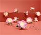 Łańuch świetlny LED z kwiatami z tkaniny