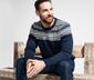 Férfi pulóver, norvégmintás, sötétkék