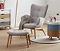 Jednoosobowy fotel z podnóżkiem, jasnoszary
