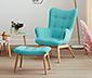 Jednoosobowy fotel z podnóżkiem, turkusowy