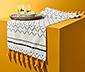 Asztali futó, rojtos, mintás, fehér/fekete/sárga