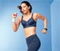 Női erős sportmelltartó, sötétkék, mintás