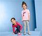 2 kislány leggings szettben, szürke/sötétkék