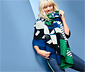 Női XL-es szövetsál, kék/zöld