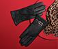 Damskie rękawice skórzane ze skóry jagnięcej z dekoracyjnym elementem metalowym