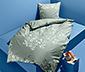 Kétoldalas perkál ágynemű, zöld, virágos egyszemélyes
