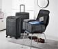 Könnyű textilbőrönd, sötétszürke, kicsi