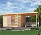 WEKA Massivholz-Gartenhaus mit Flachdach und Anbau, ca. 452 x 237 cm
