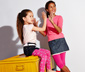 2 lányka leggings szettben, pink