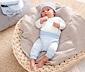 Baby-Geschenk-Set aus Bio-Baumwolle, hellblau-weiß