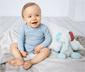 3 body z długim rękawem z bawełny ekologicznej, szary melanż, niebieskie, ciemnoniebieskie