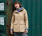 Női funkcionális parka kabát, bézs