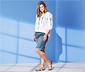 Short en jean avec coutures contrastées