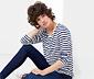 Mavi Beyaz Çizgili Uzun Kollu Çizgili Tişört