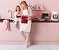 Mutfak Önlüğü, Kırmızı-Beyaz Yıldız Desenli, 85 cm