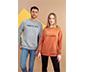Gri Melanj Sloganlı Sweatshirt