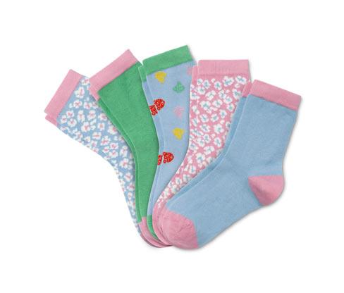 5 Paar Socken, rosa, blau, grün