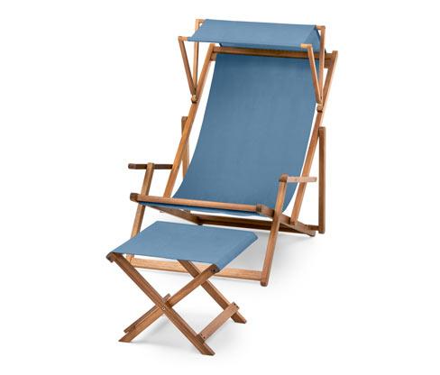 Liegestuhl mit Sonnendach und Hocker