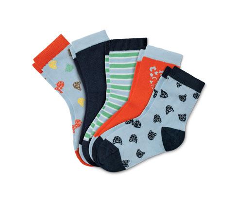 5 Paar Socken, blau, orange, grün