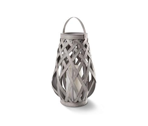 *NEU*: LED-Laterne aus Polyrattan, mit Kerzenimitat, grau