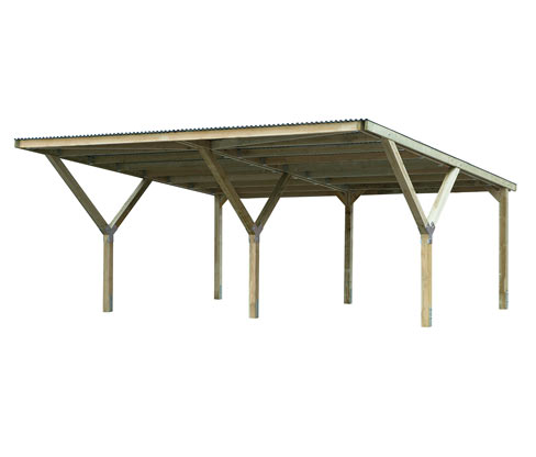 WEKA-Y-Doppel-Carport mit Flachdach | Baumarkt > Garagen und Carports