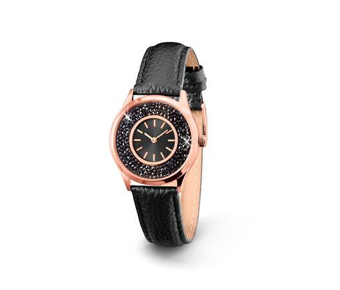 Damenuhr mit Lederarmband und Swarovski® Kristallen, schwarz