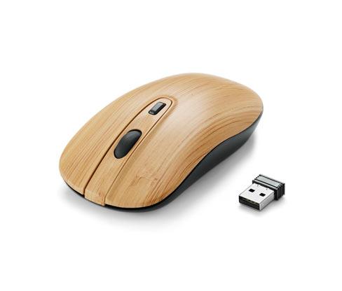 Kabellose Maus in Holzoptik