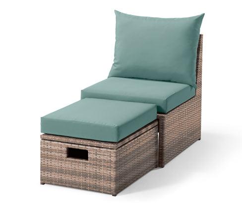 *NEU*: Lounge-Sessel mit Fußteil aus Polyrattan, brasil/mint