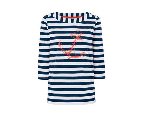 Gestreiftes Shirt mit 3/4-Arm