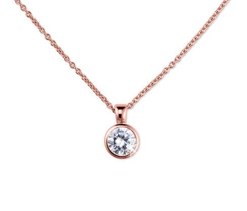 Solitär-Silberkette mit Zirkonia, rosévergoldet