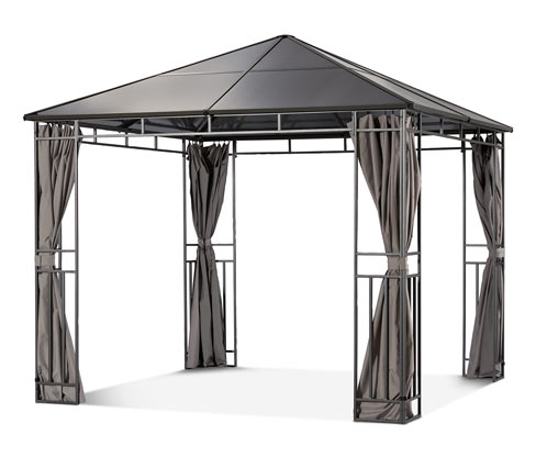 *NEU*: Gartenpavillon aus Stahl, mit Hardtop und Vorhängen