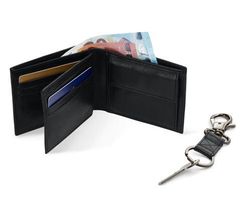 Geschenk-Set: Leder-Portemonnaie und Schlüsselanhänger | Accessoires > Schlüsselanhänger