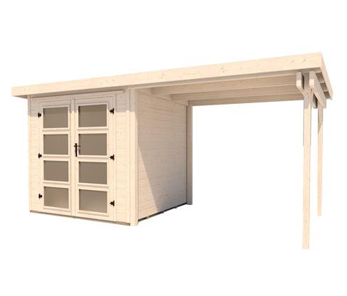 WEKA Massivholz-Gartenhaus mit Flachdach und Anbau, ca. 452 x 237 cm   Garten > Gartenhäuser