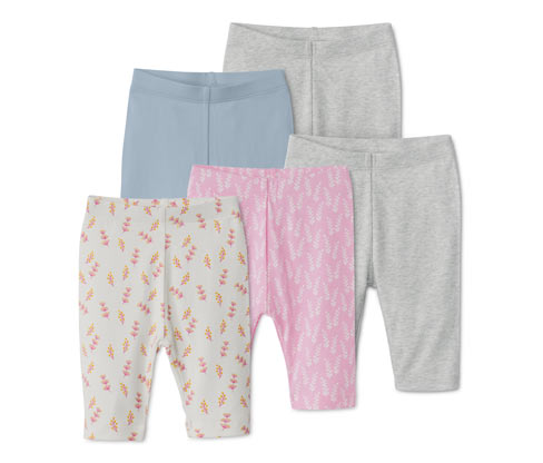 5 Leggings, rosa, beige, blau, grau