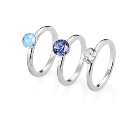 Ring-Set, verziert mit Swarovski® Kristallen