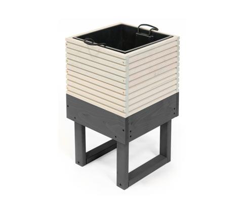 *NEU*: Pflanzkübel mit Gestell und Einsatz, aus Holz, weiß/grau