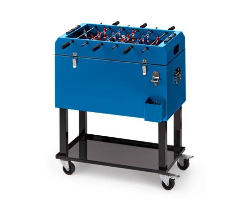 *NEU*: Gartenkühlbox mit Tischkicker aus Stahl, blau