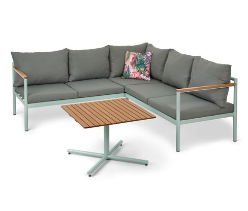 *NEU*: Gartensofa-Ecke aus Aluminium, 2-teilig, mint/grau