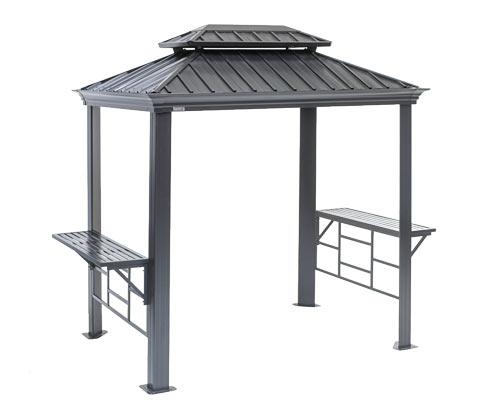 """*NEU*: Gartenpavillon """"Messina BBQ"""" aus Aluminium, anthrazit"""