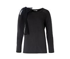 Tül Detaylı Uzun Kollu Sweatshirt - Siyah