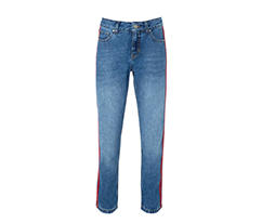 Kırmızı Yan Şeritli Boyfriend Kot Pantolon