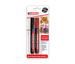 Edding Çok Amaçlı Koli Kalemi 2Li Blister Siyah Kırmızı