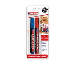 Edding Çok Amaçlı Koli Kalemi 2Li Blister Kırmızı Mavi